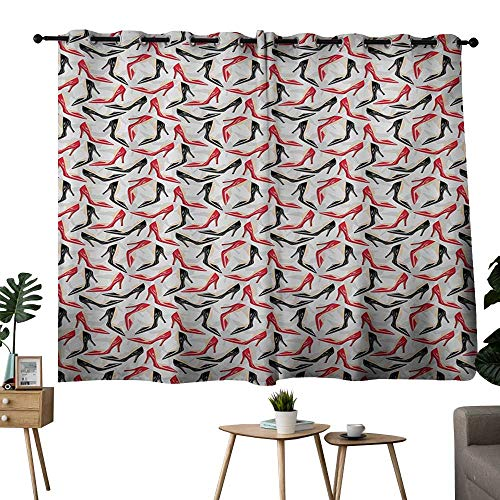 NUOMANAN Curtains 63 inch Length Red and Black,Women Fashion Pattern with High Heel Stiletto Shoes Ladies Footwear,Scarlet Black Beige Curtain Panels for Bedroom & Kitchen,1 Pair 42