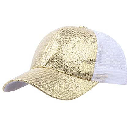 bb7e60e565d Image Unavailable. Image not available for. Color  SPE969 Women Girl  Baseball Cap Ponytail Sequins Shiny Messy Bun Snapback Hat Sun Caps