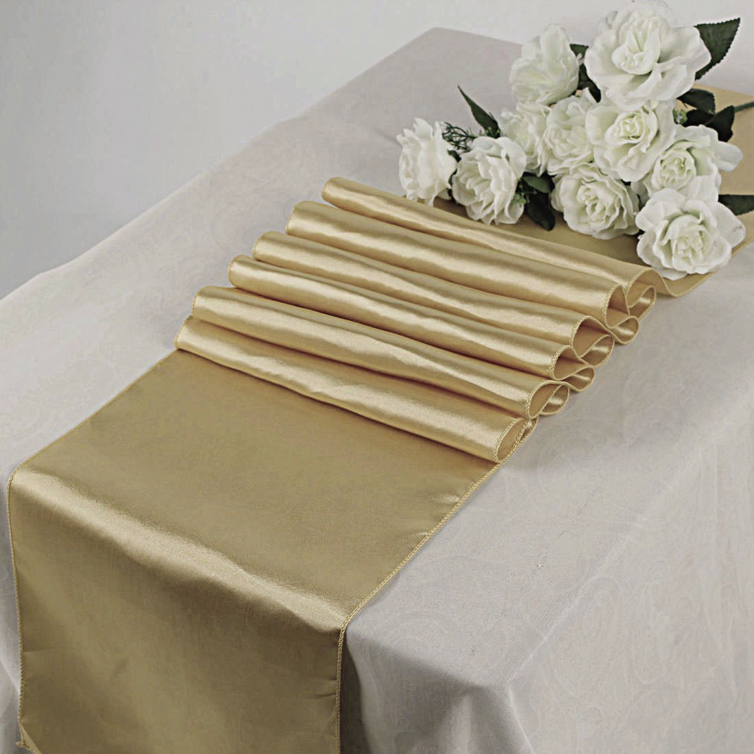 mds Pack Of 10 Wedding 12 x 108 inch Satin Table Runner For Wedding Banquet Decoration- champagne gold