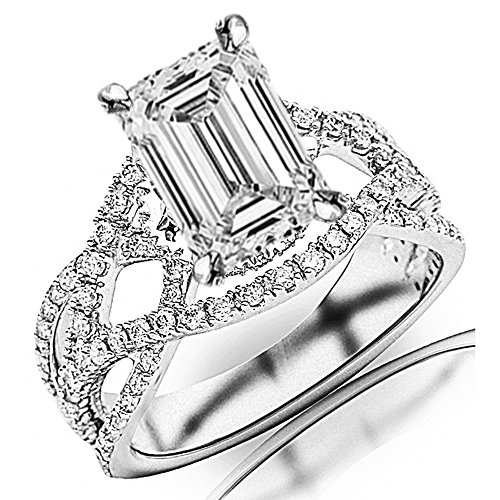 1.45 Cttw 14K White Gold Emerald Cut Eternity Love Twisting Split Shank Pave-set Round Diamond Ring with a 0.7 Carat D-E Color VS1-VS2 Clarity (Diamond Emerald Jewelry Set)