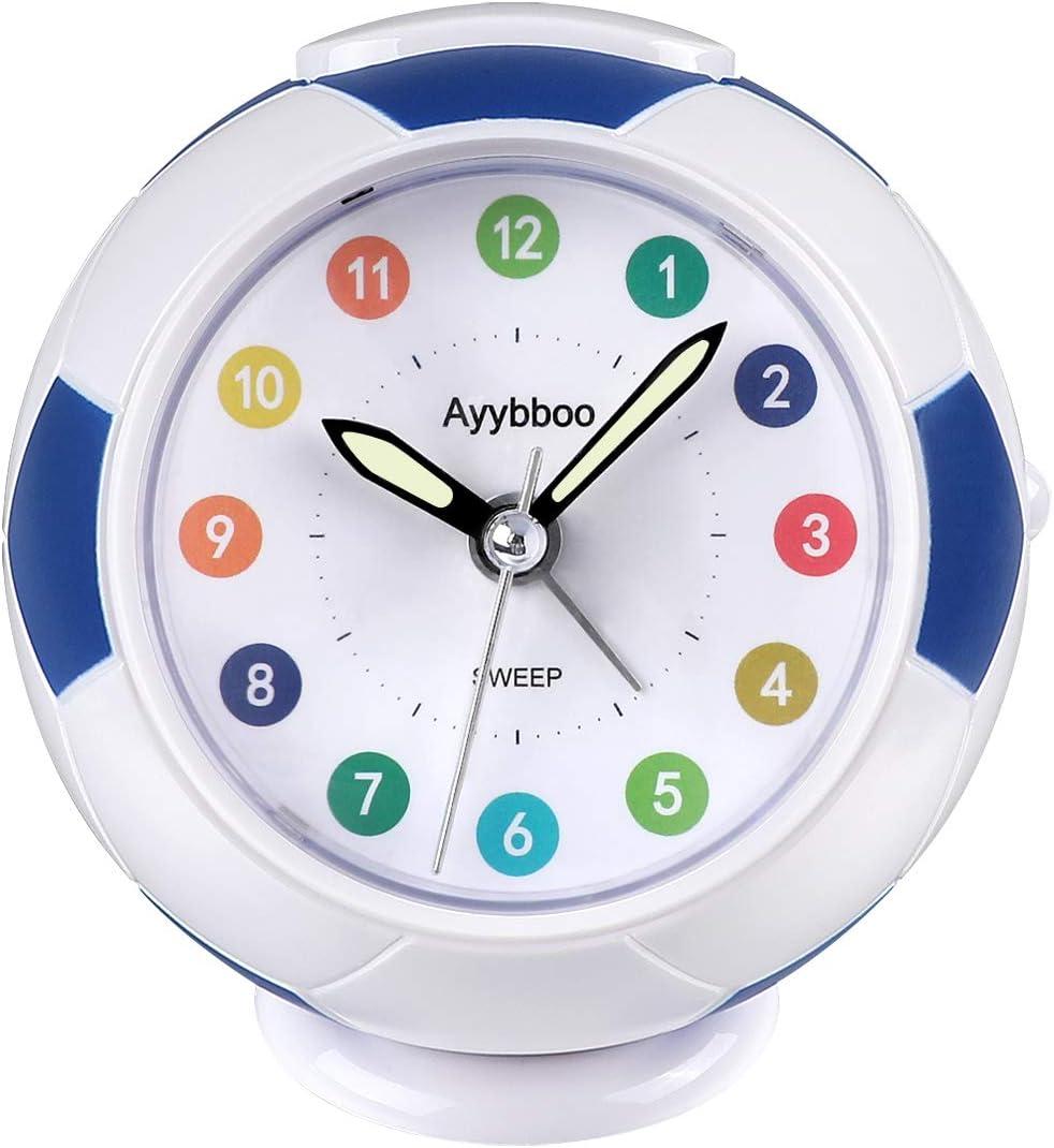 Ayybboo Reloj Despertador Analógico Niños, Despertador para Niños Silencio con Luz Sin Tictac Reloj de Mesa Simple con Snooze Reloj Despertador Dormitorio Estudio Despertadores de Niños (Azul)