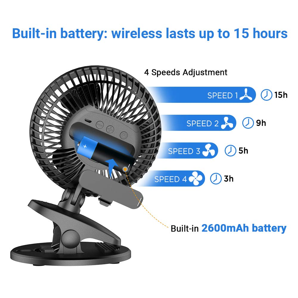 EasyAcc Battery Fan, Clip on Fan Baby Stroller Cooling Fans Strong Wind 4 Speeds 720° Rotation Using 3-15 Hours Portable USB Desk Clip Fan 2600mAh Battery Operated for Strollers Office Dorm Outdoors by EasyAcc (Image #2)