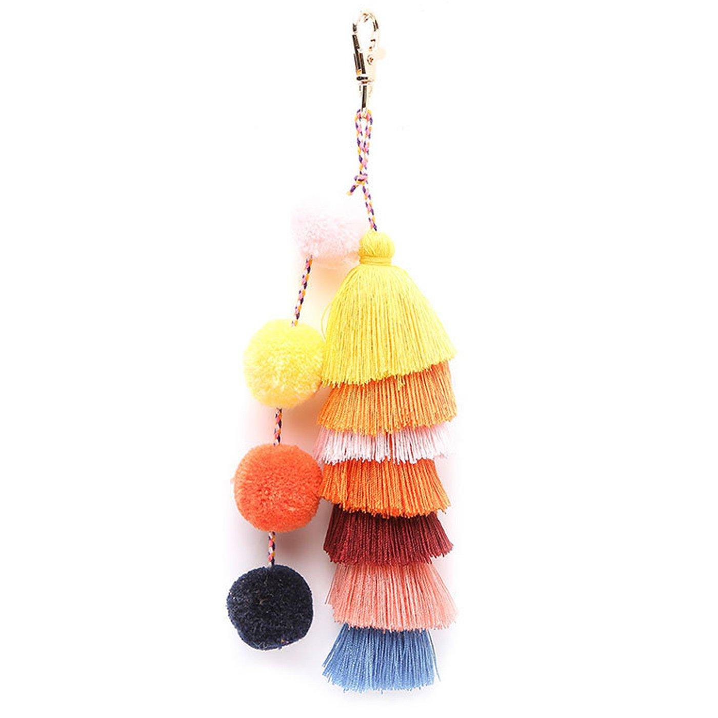 Colorful Boho Pom Pom Tassel Bag Charm Keyring Keychain for Women Purse Handbag Decor (style1)