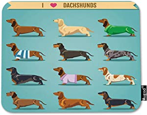 Mugod Dachshund Mouse Pad Seamless Decorative Background with I Love Dachshunds Decor Gaming Mouse Pad Rectangle Non-Slip Rubber Mousepad for Computers Laptop 7.9x9.5 Inches