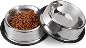 LEACOOLKEY Stainless Steel Dog Bowl for Small/Medium/Large Dog,Cat,Pet-Food/Water Bowls with Rubber Base Reduce Spill Set of 2
