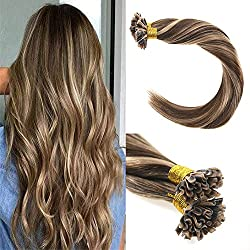 VeSunny 18inch U Tip Hair Extensions Color #4 Dark Brown Mixed #27 Caramel Blonde Keratin U Tip Hair Extensions 1g/strand 50g Per Package