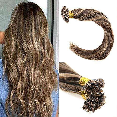 VeSunny 18inch Human Hair U Tip Hair Extensions Color #4 Dar