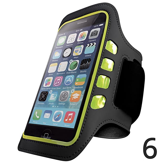 wholesale dealer 4ff7e 37ea2 Iphone 6 and 6S Armband - Best for Running, Sports and Workout - LED  Lights, Sweatproof, Touch Sensitive, Key Holder - Black