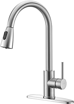LAZADA Kitchen Faucet,Commercial Lead-Free Single Lever Handle High Arc Pull Down Sprayer Kitchen Sink Faucets,Brushed Nickel Pull Out Faucet with Deck Plate