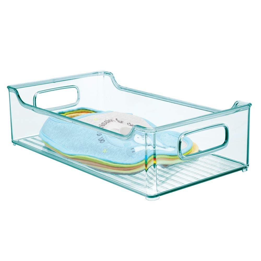 Bleu MetroDecor mDesign Rangement Chambre Enfant Couches etc Grand Panier de Rangement avec poign/ées Pratiques bac de Rangement en Plastique sans BPA pour Jouets