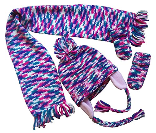 N'Ice Caps Infants Unisex Multi Color Knitted Hat/Scarf/Mitten Set (12-18 months, pink/fuchsia/purple/turq/white multi)