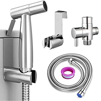 Amazon Com Ottolives Handheld Bidet Sprayer For Toilet Spray Attachment With Hose For Feminine Wash Baby Cloth Diaper Washer Stainless Steel Cleaner And Shower Sprayer For Pet Bathroom Or Toilet Baby