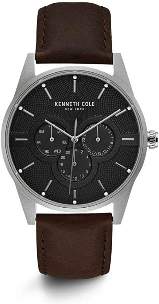 Kenneth Cole New York Men s Quartz Stainless Steel Case Mesh Genuine Leather Strap Casual Watch Model KC15205004 05 01