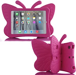 "Simicoo iPad Air3 iPad Pro 10.5 iPad 10.2 Cute Butterfly Case for Kids Stand Light Weight EVA Shockproof Rugged Heavy Duty Kids Friendly Case for iPad 10.5"" Air (3rd Gen) iPAD 10.2 (Rose)"