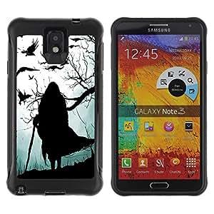 "Hypernova Defender Series TPU protection Cas Case Coque pour SAMSUNG Galaxy Note 3 III / N9000 / N9005 [Bruja Gris Negro de Halloween Viejo""]"
