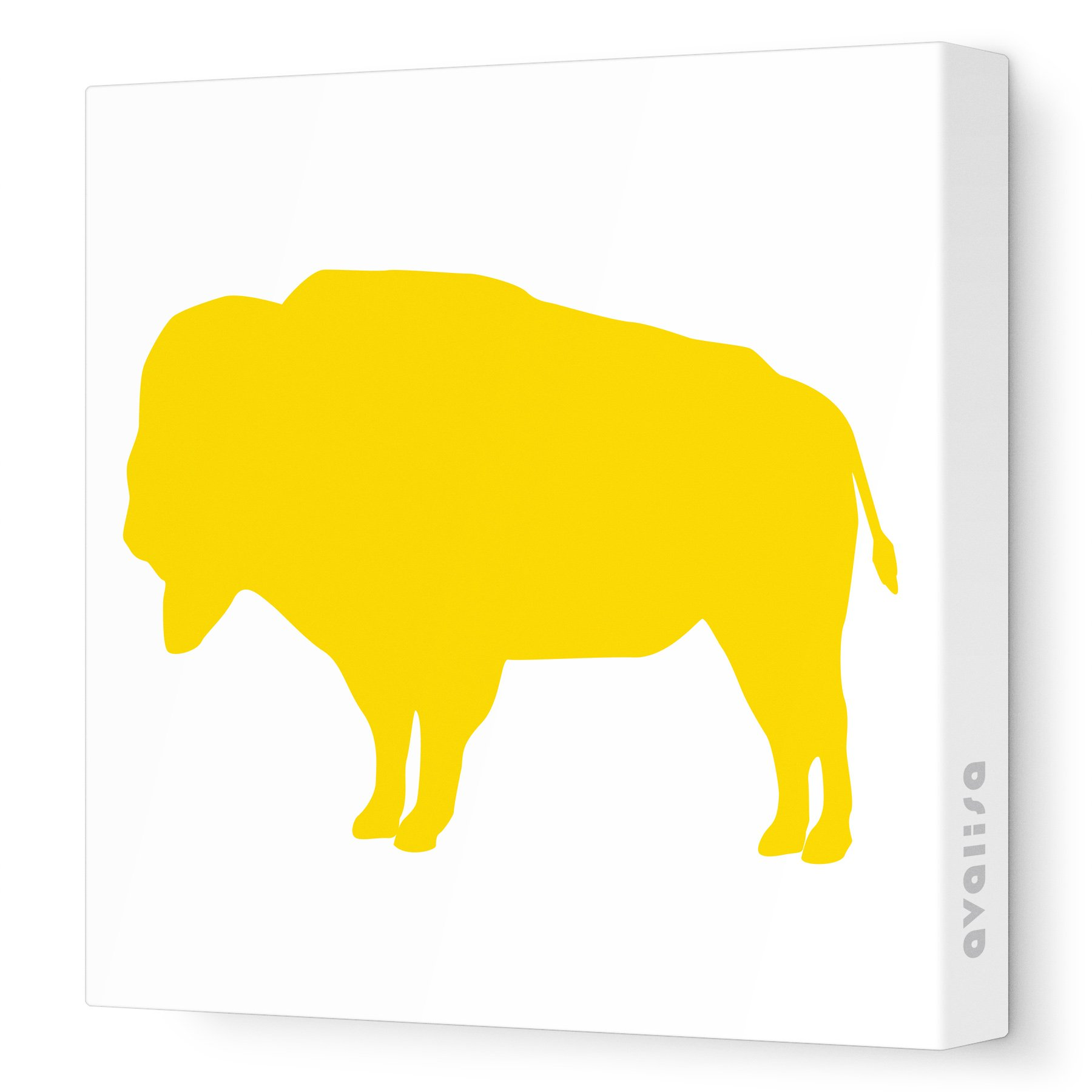 Avalisa Stretched Canvas Buffalo Silhouette Nursery Wall Art, Yellow ...