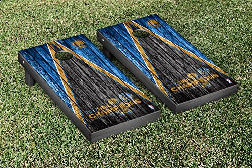 Golden State Warrirors 2017 NBA Champions Cornhole Game Set Weathered Triangle Version by Victory Tailgate