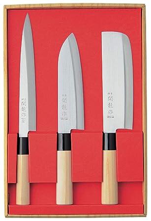 SekiRyu - Juego de 4 cuchillos de cocina japoneses (incluye ...