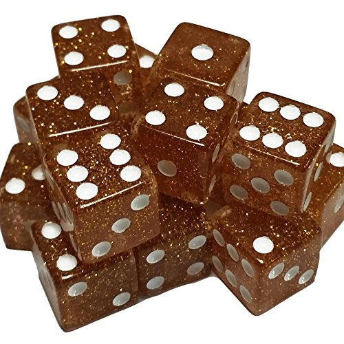 100 Glitter Gold Dice with White Spots - 16mm by Marion