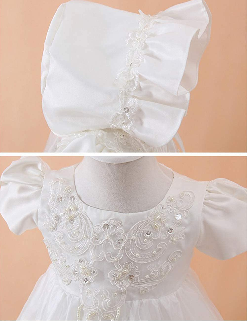 besbomig Baby Girl Christening Outfit Flower Princess Tutu Dress with Bonnet /& Cape