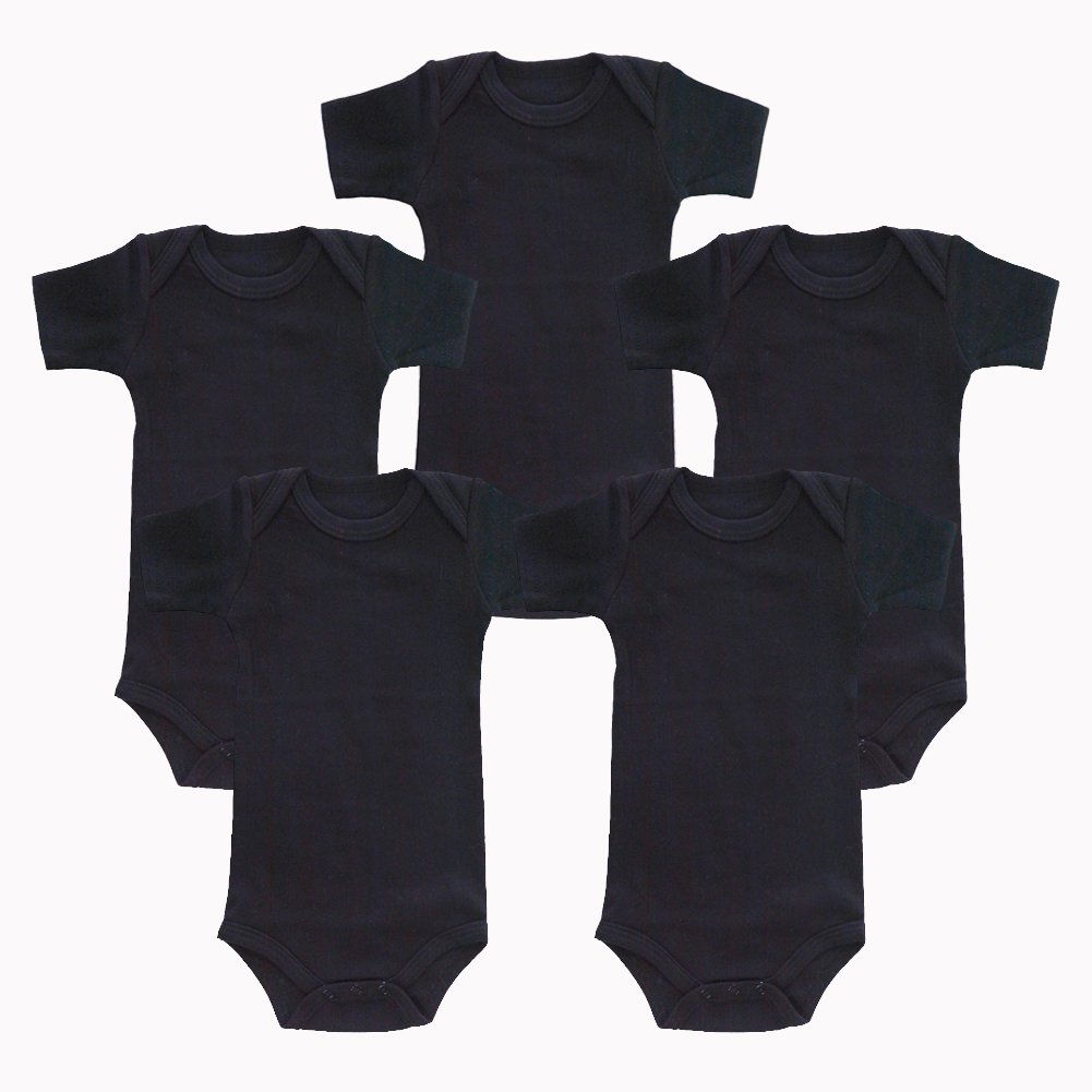 Enfants Chéris 5-Pack Newborn Baby Unisex Onesies Cotton Short Sleeve Bodysuit, (Black, 3-Months)