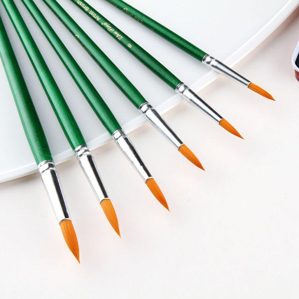 Pixnor artista set di pennelli pennelli Art set per olio/acrilico/acquerello –  rotondo a punta stile 12PCS