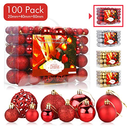Aitsite 100 Pack Christmas Tree Ornaments Set Mini Shatterproof Holiday Ornaments Balls for Christmas Decorations (Red) (Christmas Decoratons)