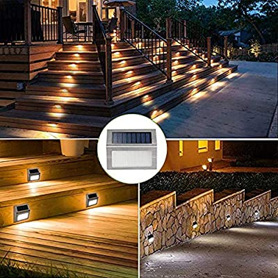 Mulslect Solar Stair Lights LED Outdoor Step Lights Stainless Steel Walkway Lights for Paths Patio-4 Pack