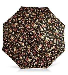 9de aluminio paraguas con manivela brazo, de flores, negro