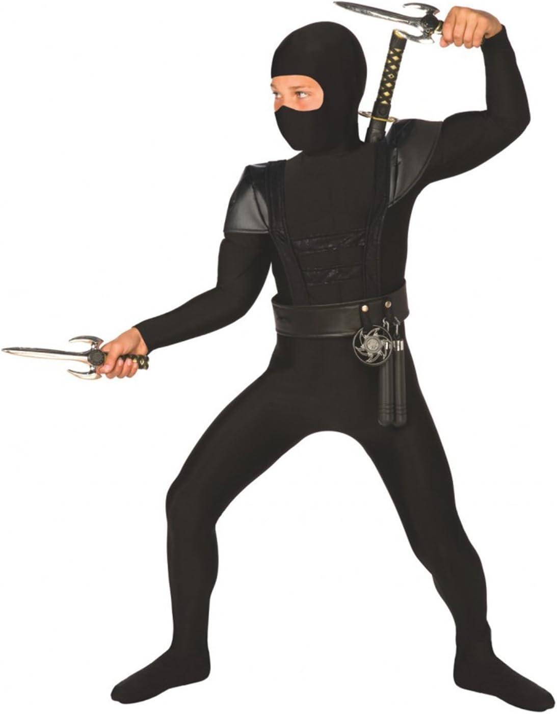 Morph Costume De Ninja denfants Noir Kung Fu Tenue pour Gar/çons Et Filles Grand