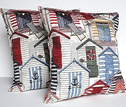Dos diseño de casetas de playa funda de almohada, cojín, 18 x 18,