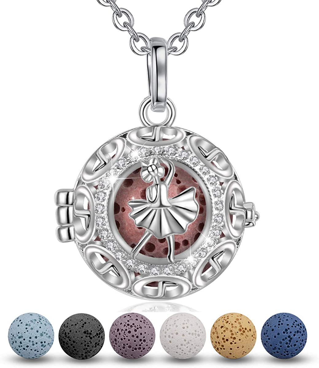 Fleur-de-Lis Oval Sterling Silver Essential Oil Diffuser Necklace ~ Locket with Natural Lava Stones