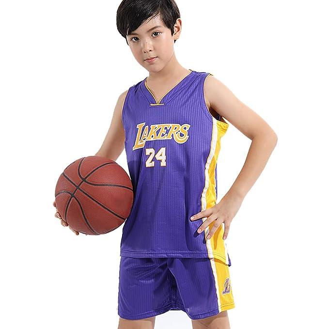 VQZN Trajes de Baloncesto para niños, adecuados para Lakers 24 ...