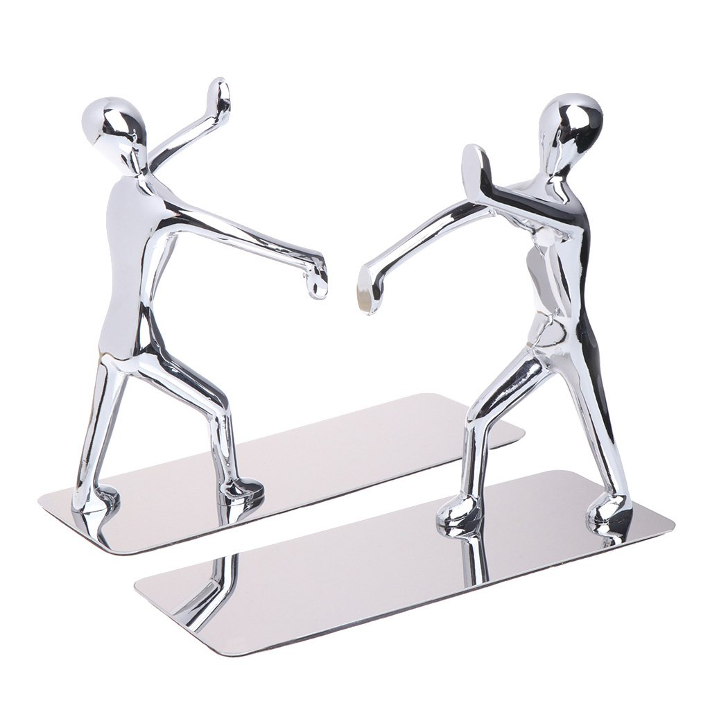 CUTEQ 1 Pair Art Bookend Stainless Steel Humanoid Book Clip - Silver for Office Home and Students Desk Organizer