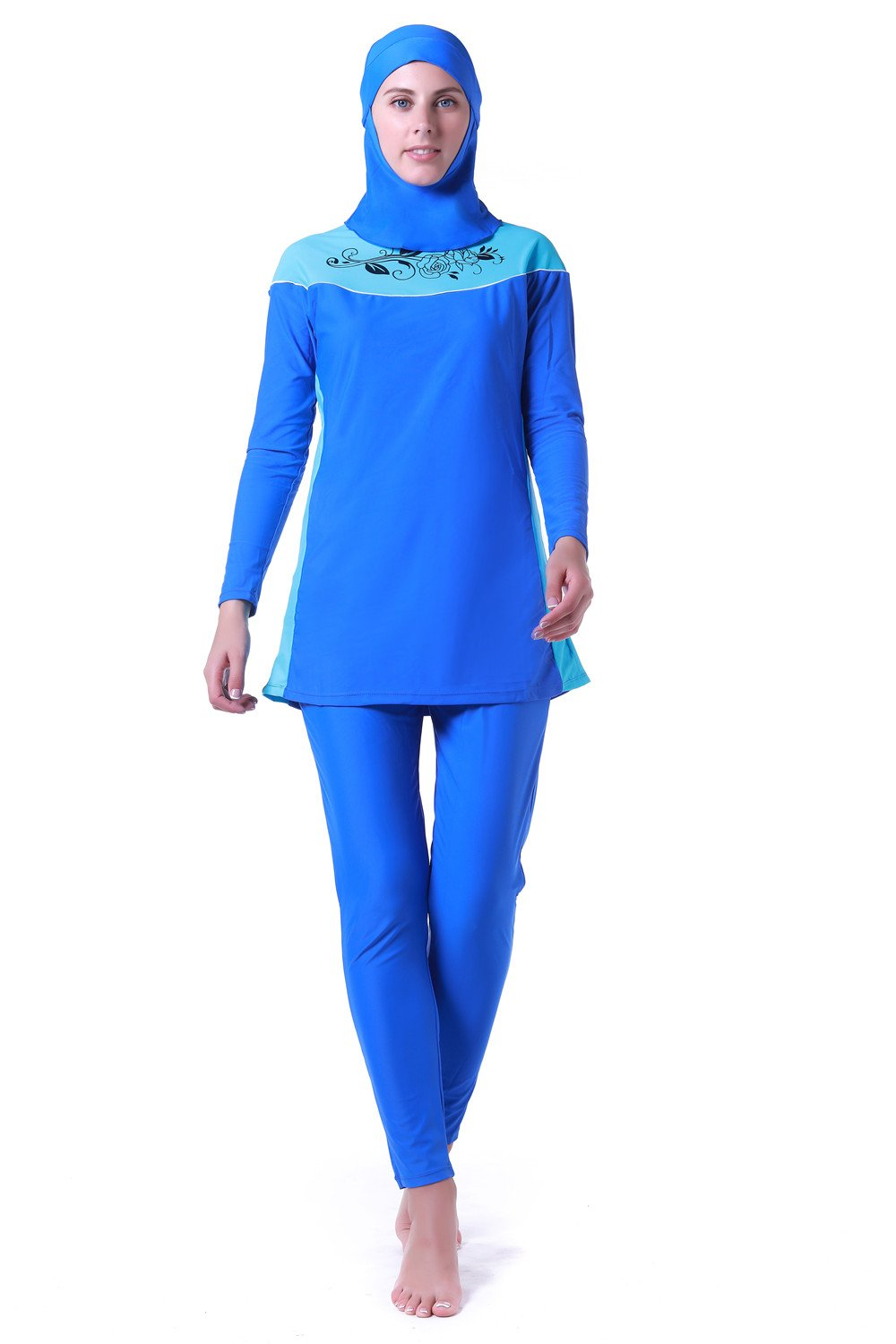 Women Muslim Swimwear Full Coverage Islamic Modest Swimsuit 3 Pieces Full Body with Hijab Sun Protection (ZH14003-blue, L)