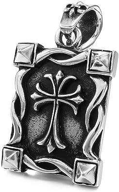 MunkiMix Acier Inoxydable Pendentif Collier dargent Or Deux Ton Noir Croix Homme,58cm cha/îne