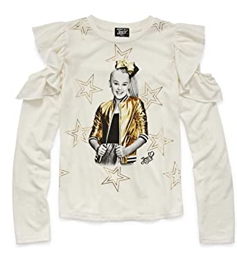 f1d03f13edb95 Girls JoJo Siwa Gold Stars Long Sleeve Cold Shoulder Shirt (Medium 10-12)