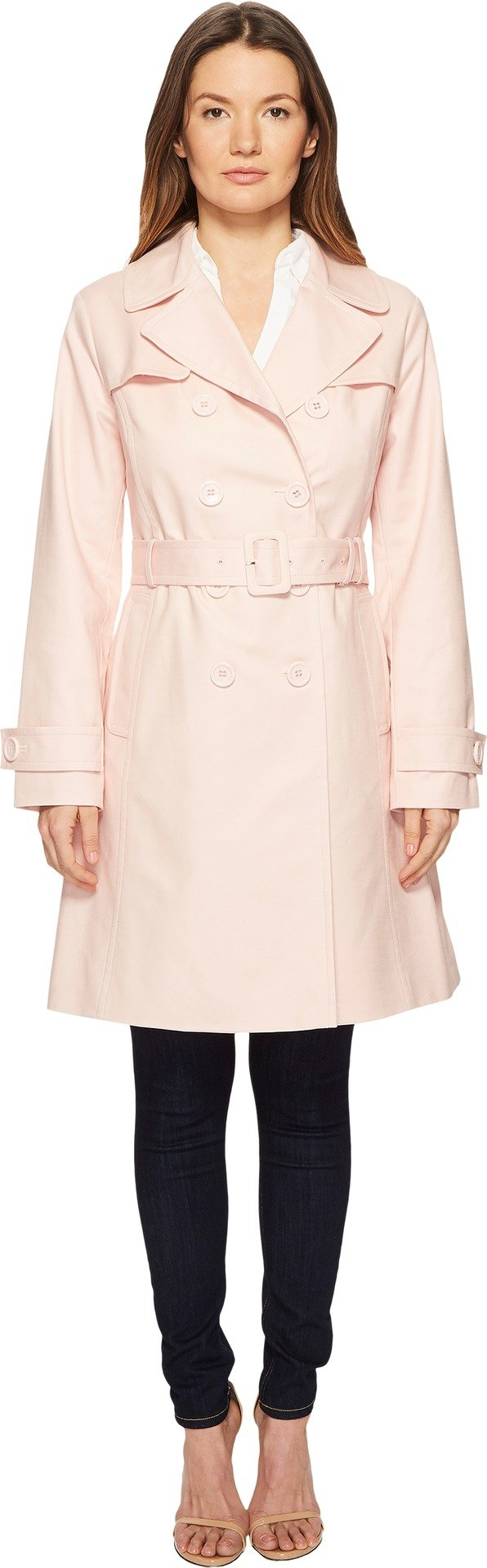 Kate Spade New York Womens 38'' Double Breasted Trench Coat w/Tie Waist Rosy Dawn MD One Size