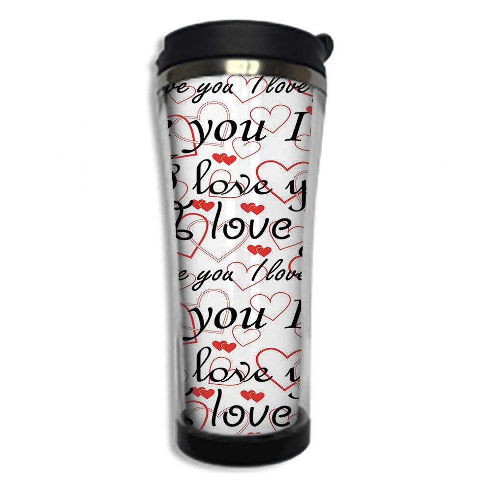 3dfb048a97e Travel Coffee Mug 3D Printed Portable Vacuum Cup,Insulated Tea Cup Water  Bottle Tumblers for Drinking with Lid 8.45 OZ(250 ml)by,I Love You,Cartoon  Style ...