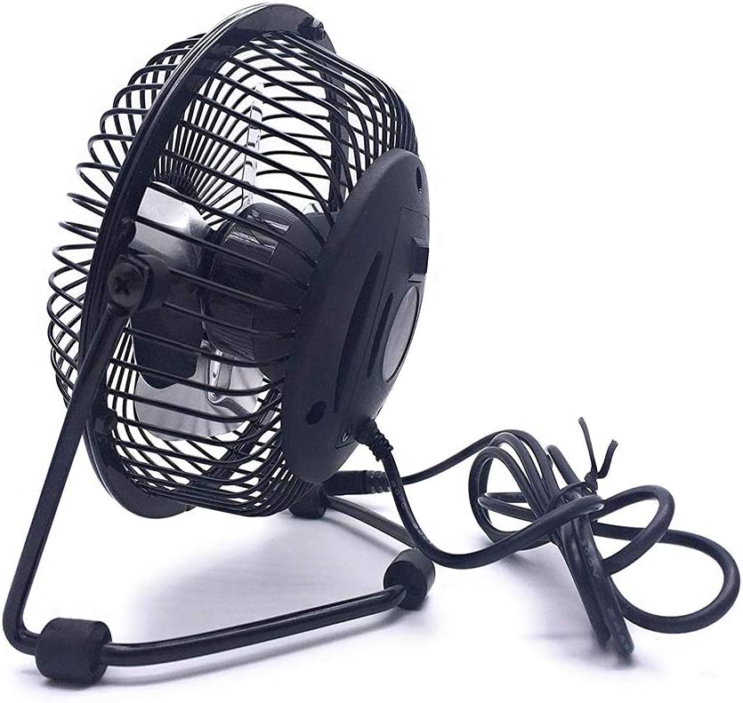 HKJZZ Personal USB Fan Portable Cooling Fan 4 Compact and Compact Size for Office Dormitory Desktop Dark Black