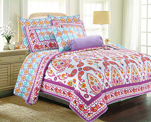 Cozy Line Home Fashions Cynthia Boho Bedding Quilt Set, Fuchsia Pink White Orange Flower Floral 100% Cotton Reversible Coverlet Bedspread, Gifts for Girl Women (Fuchsia Boho, Queen - 3 Piece) from Cozy Line Home Fashions