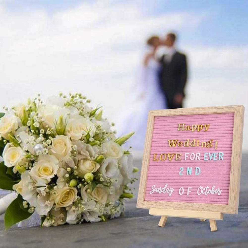 Gray G GAMIT Felt Letter Board Message Board 10x10inch with Stand,Pre-cut/&Sorted 713pcs White,Blue/&Pink Changeable Letters+Weeks /&Months Cursive Words,Word board Sign board with Sorting Tray/&Gift Box