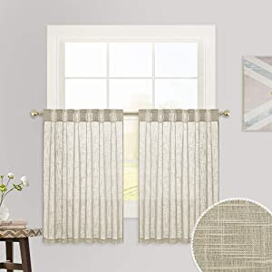 RYB HOME Half Window Curtains - Linen Textured Sheer Curtains Tiers, Privacy Curtains Sunlight Glare Diffuse Voile Drapes for Kitchen Bathroom Bedroom Office, Taupe, 52 x 36 inches Each, 1 Pair