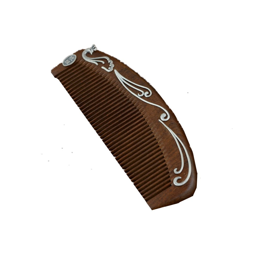 Red pinkwood Comb Thai Silver Craft Exquisite Matte Peacock Comb