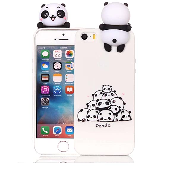 pretty nice 5e468 63934 iPhone 5 SE Silicone Case, iPhone SE Cover, iPhone 5S Phone Cases 3D  Cartoon Animal Aeeque Ultra Thin [Slim Fit] Bumper Shell Soft TPU Rubber  White ...