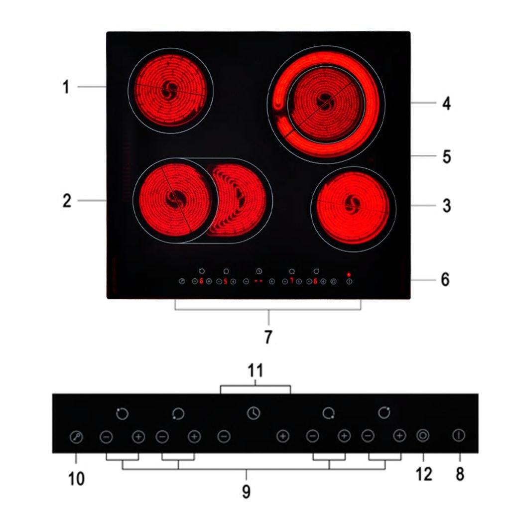 Placa vitrocerámica EUROKERA Vidrio 6000-7200 W Cocina y ...