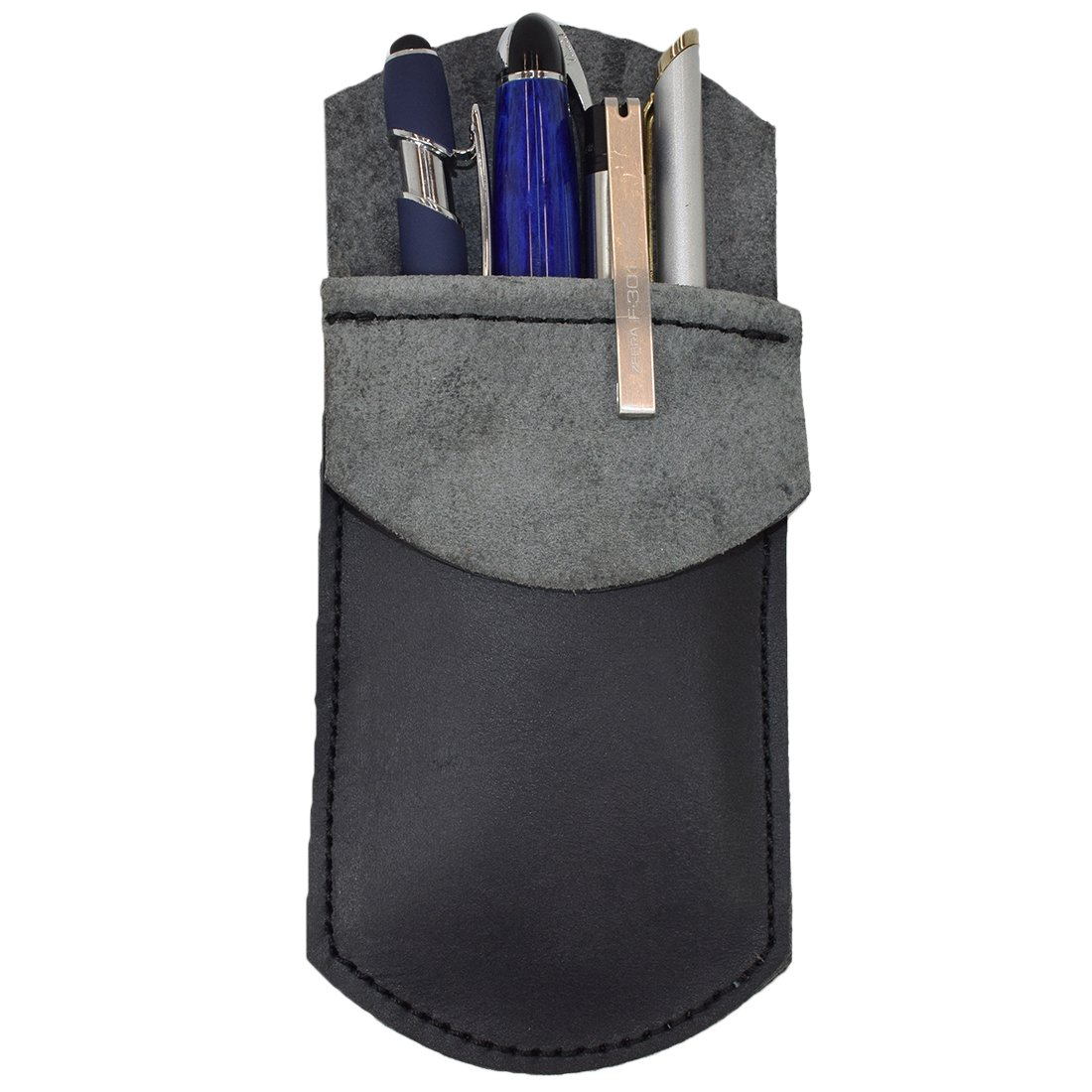 Durable Leather Pocket Protector/Pencil Pouch/Office & Work Essentials Pen Holder Handmade by Hide & Drink :: Charcoal Black