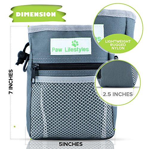 Paw-Lifestyles–Dog-Treat-Training-Pouch–Easily-Carries-Pet-Toys-Kibble-Treats–Built-in-Poop-Bag-Dispenser–3-Ways-to-Wear–Grey