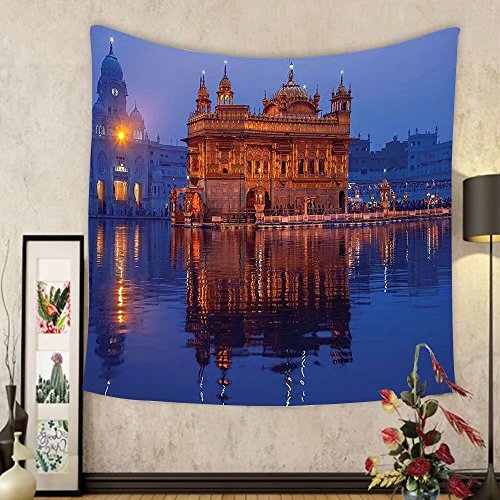 Gzhihine Custom tapestry Home Decor Tapestry Golden Temple At Night City Lights Holy Shrine Worship For Men And Women Equally Picture Bedroom Living Room Dorm Decor Blue Orange by Gzhihine