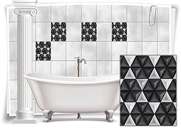 Fliesenaufkleber Fliesenbild Fliesen Aufkleber Mosaik Grau Weiss